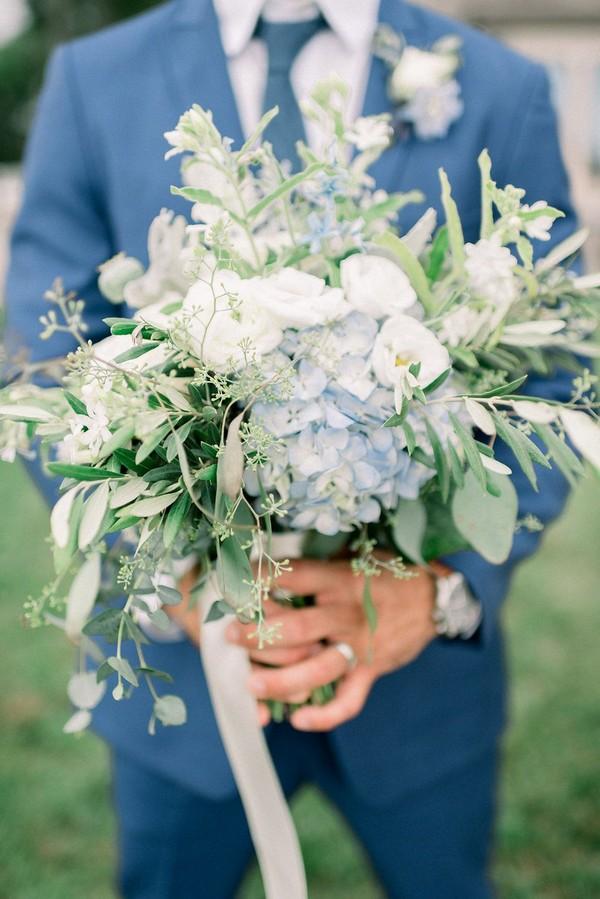light blue hydrangea and seeded eucalyptus wedding bouquets