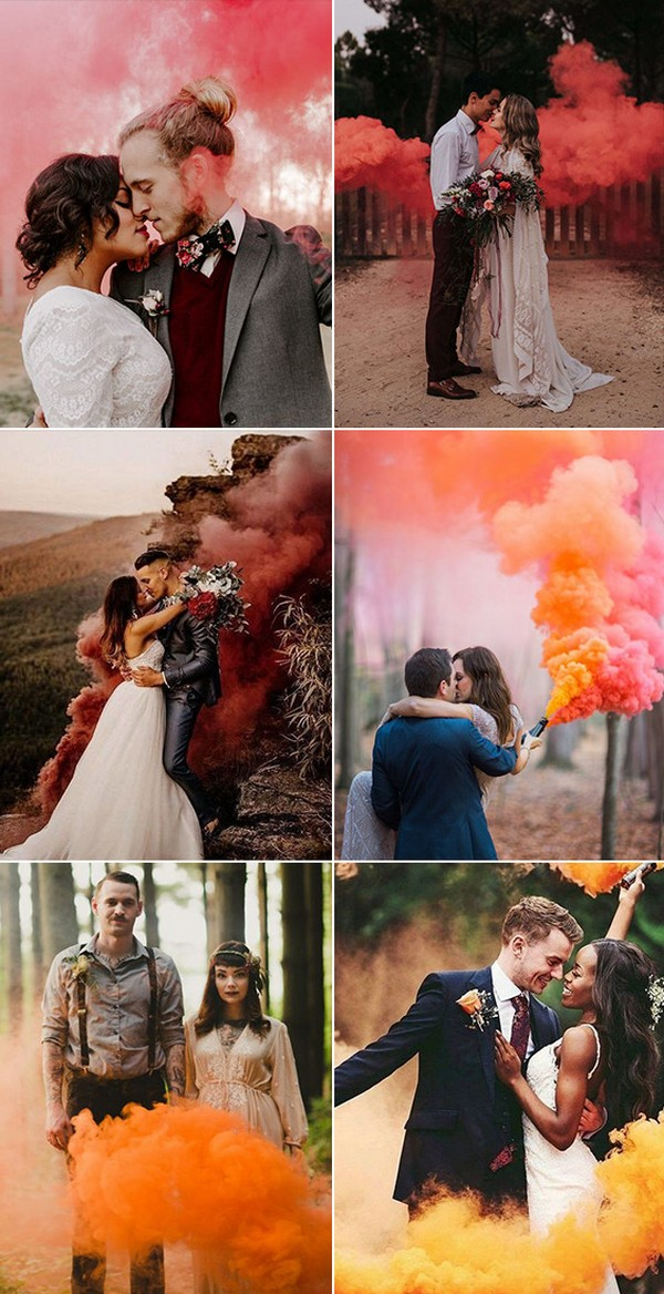 must have bride and groom wedding photo ideas with smoke bombs