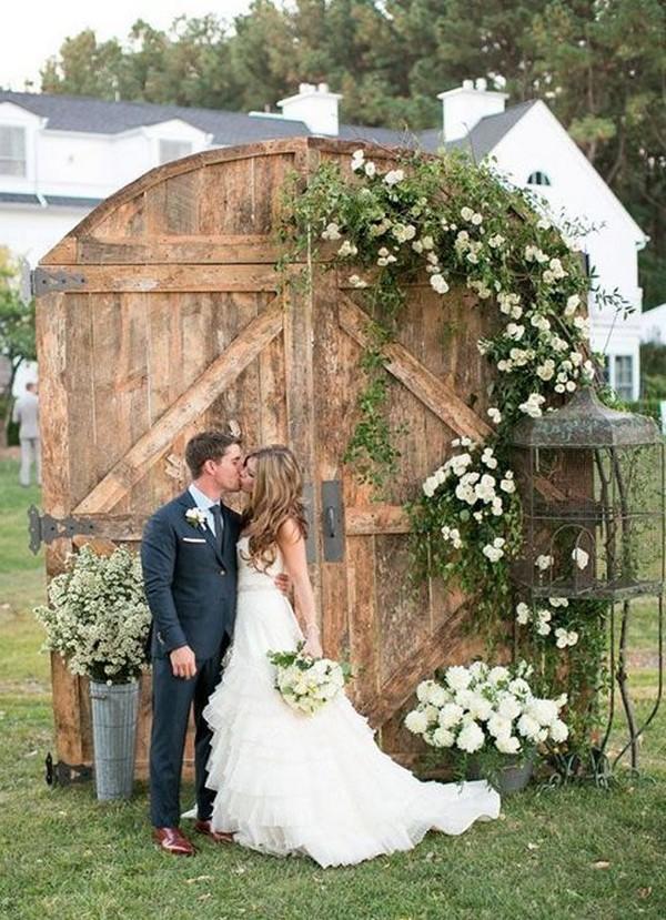 rustic wood old door wedding backdrop and ceremony entrance ideas #wedding #weddingideas #rusticwedding #countrywedding
