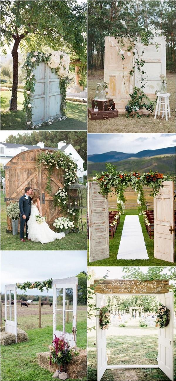 rustic wood old door wedding backdrop and ceremony entrance ideas
