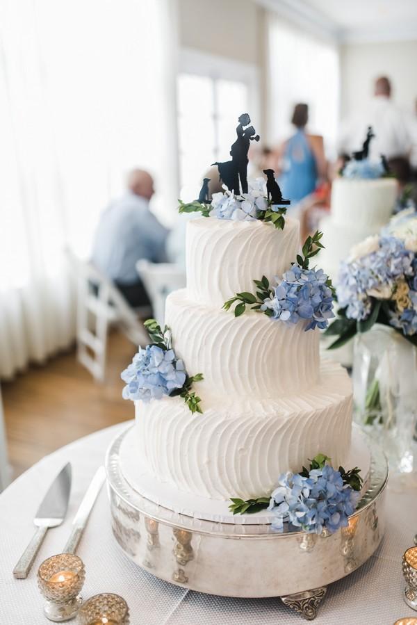 white buttercream wedding cake with light blue hydrangeas