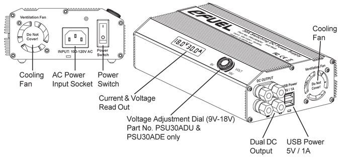 eFUEL 110V Input 9-18V 30A 540 Watt Output Switching AC/DC