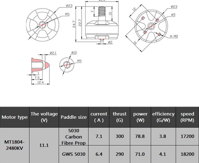 EMAX MT1804 2480KV CW Brushless Motor for RC 250mm Mini