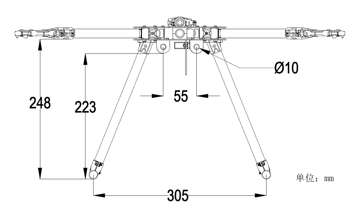 hight resolution of hmf y600 3 axis tricopter multi rotor frame kit high landing gear w gimbal hanging rail