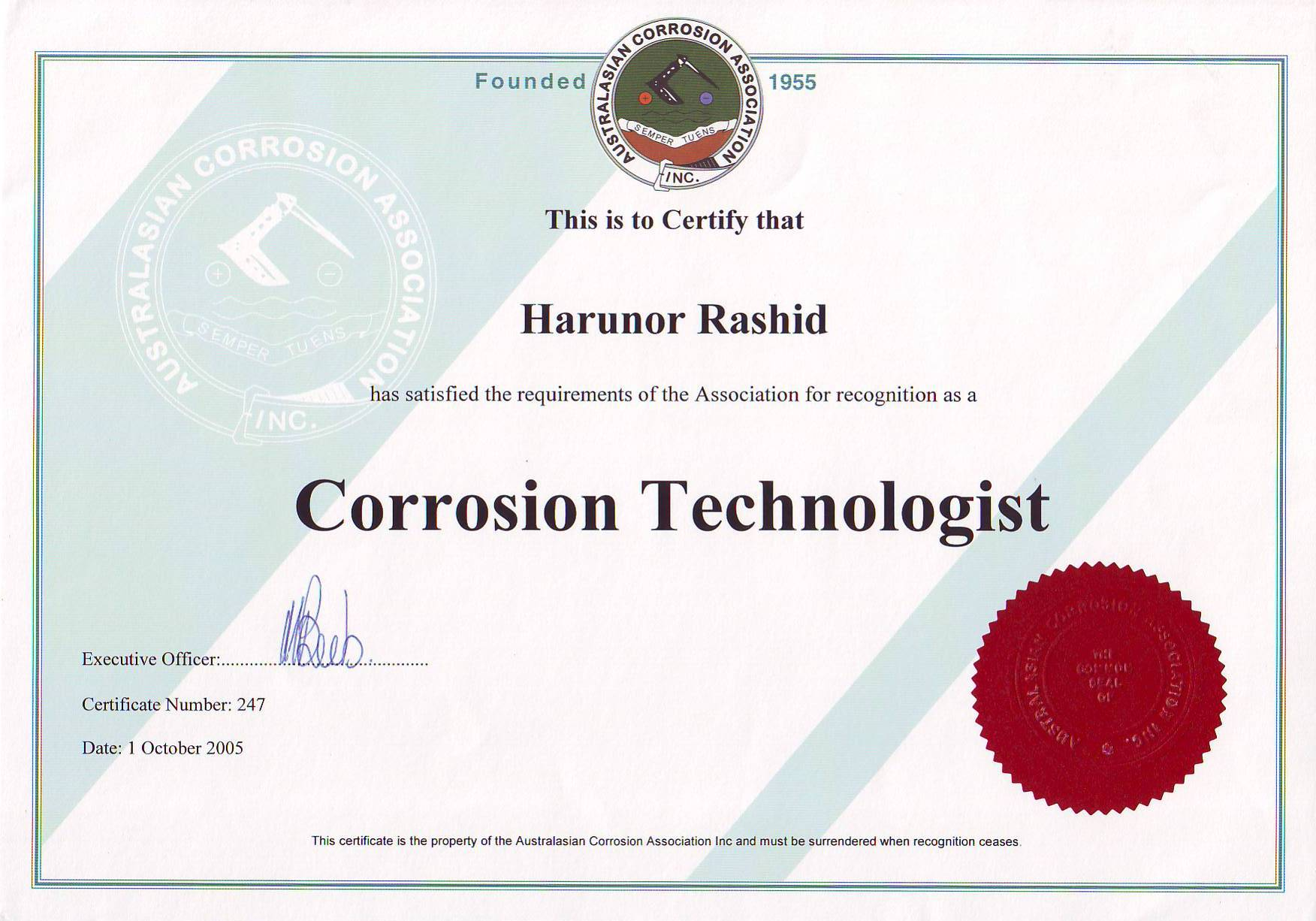 hight resolution of  aca corrosion technologist