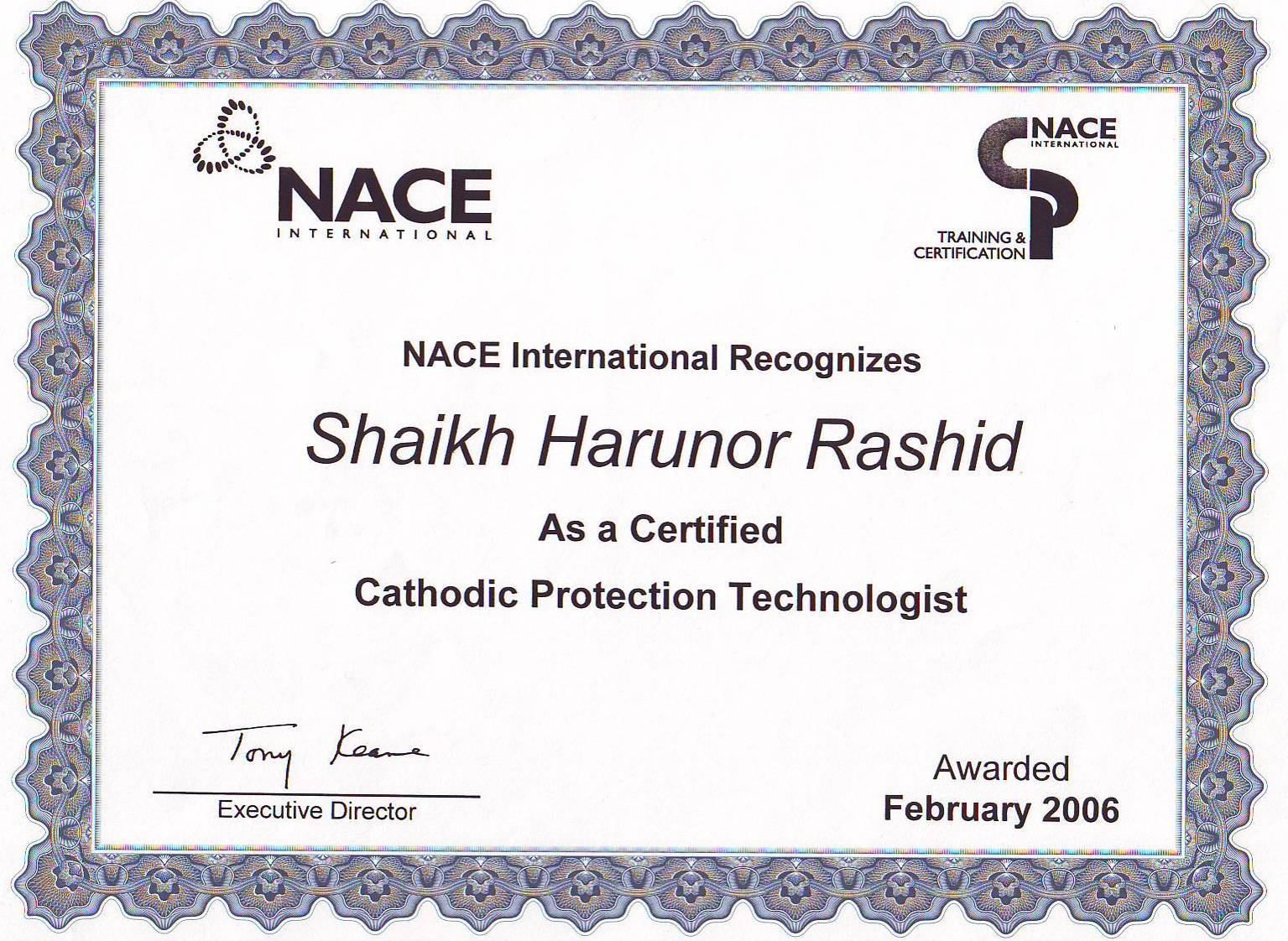 hight resolution of nace cathodic protection technologist