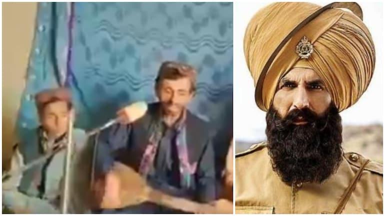 बलूच गायक वहाब अली बुगती वायरल वीडियो में केसरी गाना तेरी मिट्टी गाते हैं।  (तस्वीरें: ट्विटर)