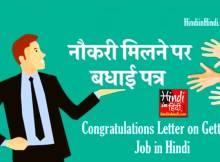 hindiinhindi Congratulations Letter on Getting a Job in Hindi