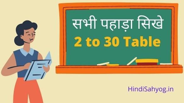 2 Ka Table in Hindi