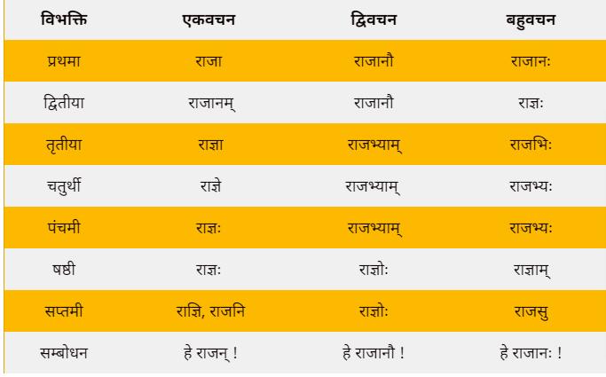 Rajan shabd roop in Sanskrit