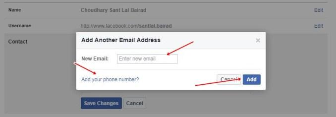 facebook change number