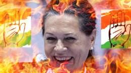 Sonia Burning Bharat Jihadis Congress Anti-Hindu