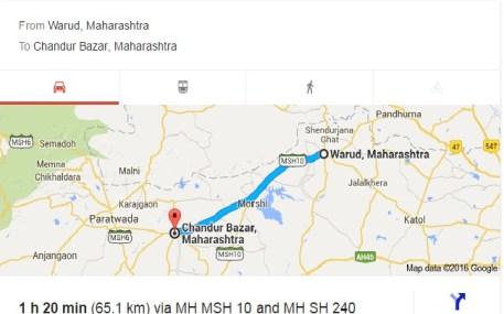 Warud to Chandur Bazar, Amravati