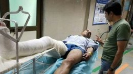 JNU Guard Leg Broken by Communist Students