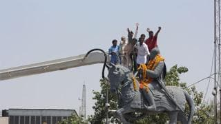 HT FILE PHOTOPeople pay tributes to 15th century Rajput king of Mear, Maharana Pratap on his birth anniversary, in Bhopal.