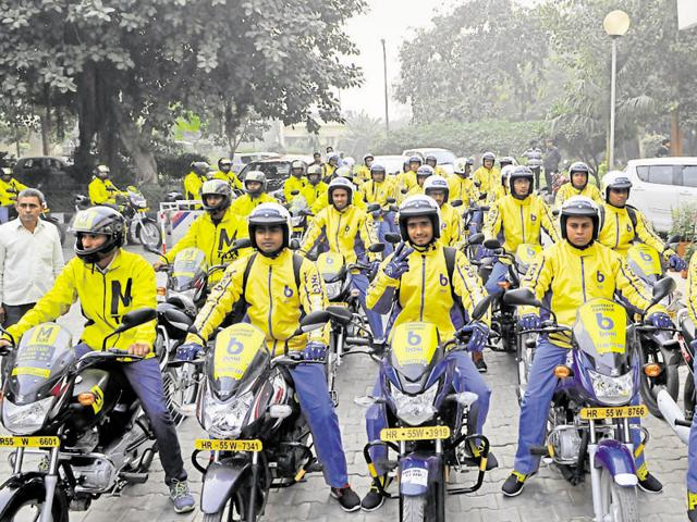 Bike taxi service launched in Gurgaon  gurgaon