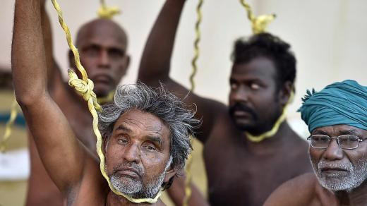 Farmers enact hangings or attempted suicide of other farmers affected by crop distress. (Raj K Raj/HT PHOTO)