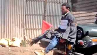 Image result for man tied to jeep kashmir