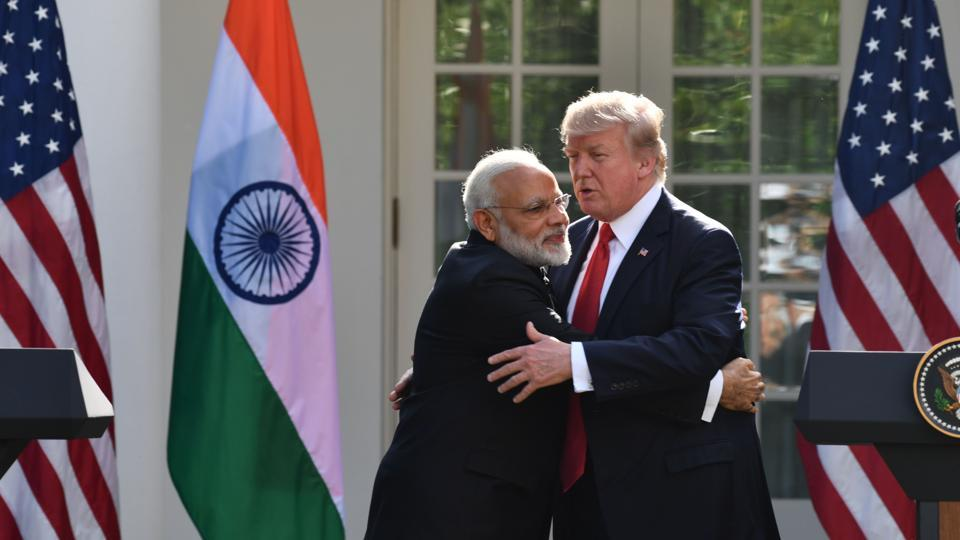 Image result for pics of modi embracing trump