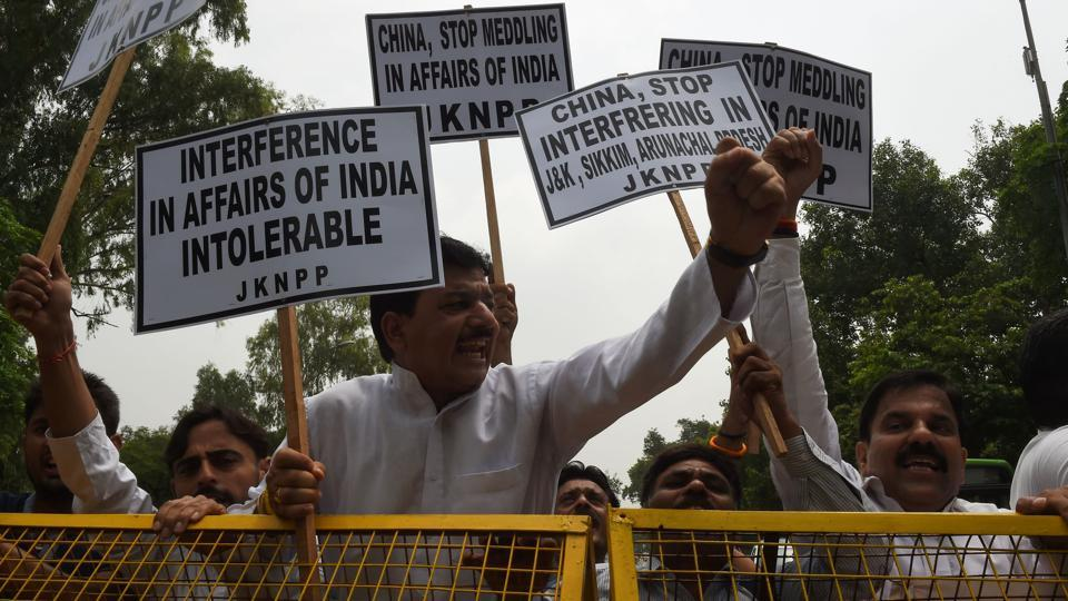 Indian activists shout anti-Chinese slogans during a protest near the Chinese embassy in New Delhi.