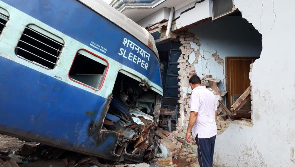 Coaches of the Puri-Haridwar Utkal Express train after it derailed in Khatauli on August 20.  In June, quoting a report by the NITI Aayog, minister of state for Railways Rajen Gohain told Parliament that 53% of India's train accidents are due to derailments.