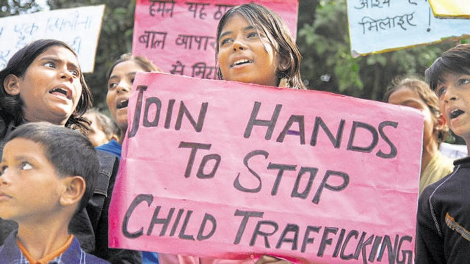 Children shouting Slogans against Child Trafficking on the occation of Global Day Against Child Trafficking at Jantar Mantar on Friday.