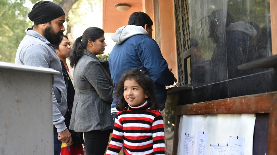 New Delhi, Indi Parents collecting admission forms at Air Force Bal Bharati School, Lodhi Road,  on Wednesday, the first day of nursery admissions.