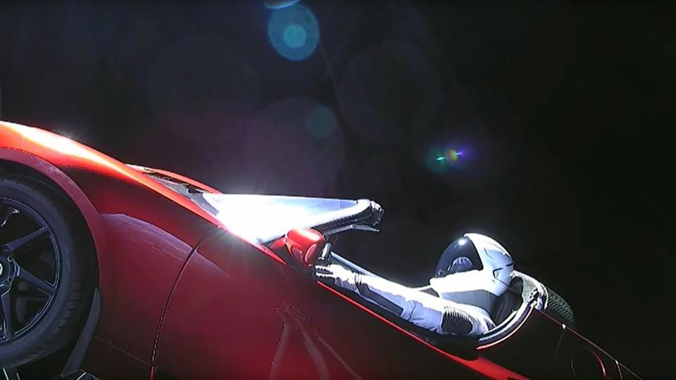 Car In Space Wallpaper Elon Musk Elon Musk S Car On Falcon Heavy Now Flying Toward Asteroid