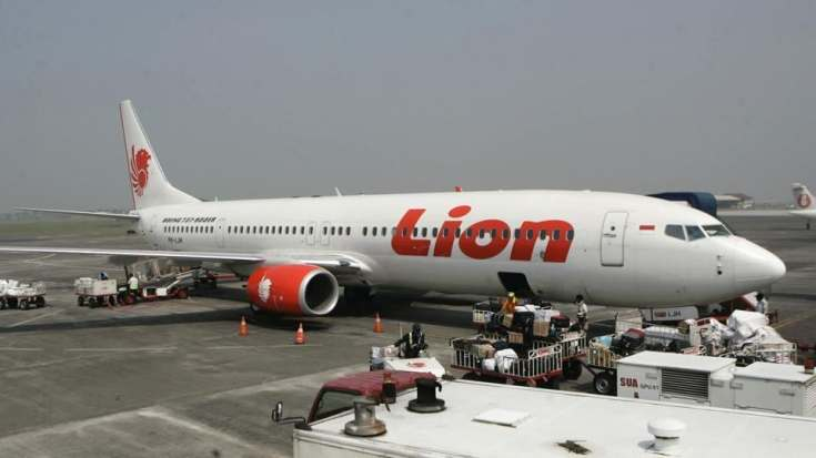A Lion Air passenger jet is parked on the tarmac at Juanda International Airport in Surabaya, Indonesia. A Lion Air flight with 189 people on board is believed to have sunk after crashing into the sea off Indonesia's island of Java on Monday, shortly after take off from the capital on its way to the country's tin-mining hub, officials said. (Trisnadi / AP File)