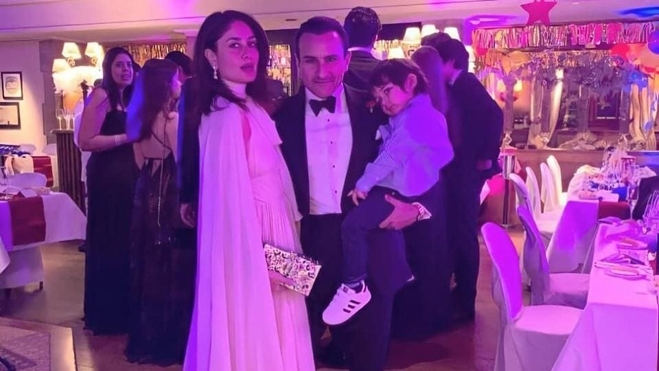 Kareena looked stunning in a white gown, she wore a fur coat to help her with the freezing temperatures of Switzerland and looked gorgeous as always. The flared gown had a high neckline and was sleeveless, a matching white cape cascaded at the back. We are loving the short hair on Kareena. Saif looked as dapper as always in a well-structured tuxedo (INSTAGRAM)