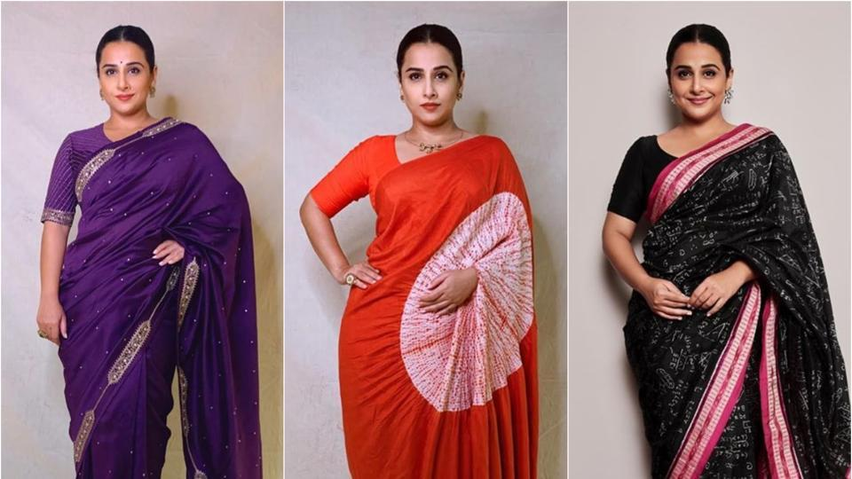 Vidya Balan flaunts her statement saree style for Shakuntala Devi promotions – fashion and trends