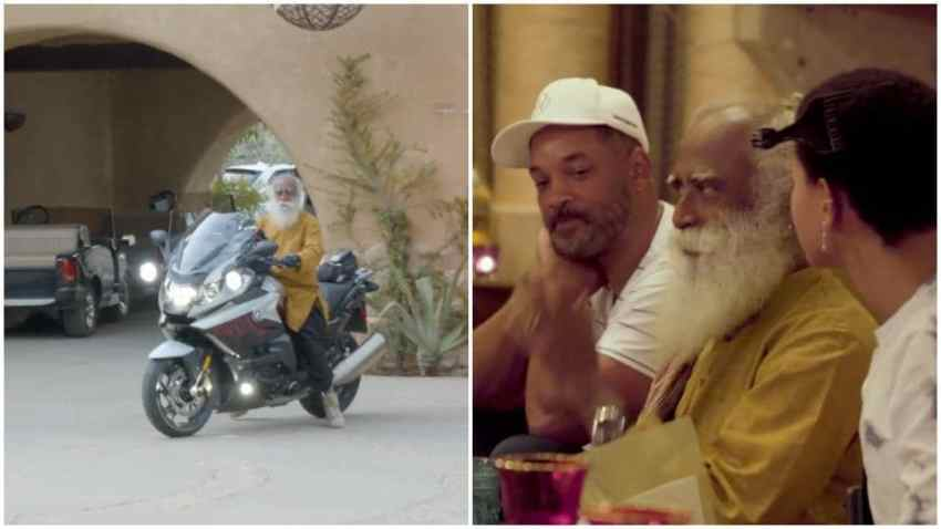 Will Smith posts video as he and daughter Willow meet a bike-riding Sadhguru