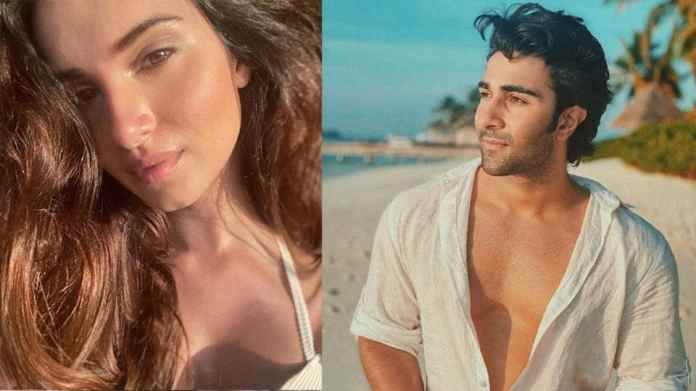 Tara Sutaria, Aadar Jain twin in white beachwear as they soak the winter sun in Maldives. See pics