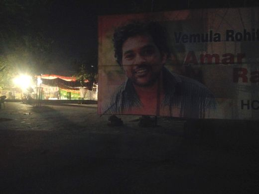 A poster of Rohith Vemula at the Hyderabad Central University campus. Rohith's PhD meant much more to him than a mere degree. In the past, he had worked as a construction labourer and a catering boy to fund his education.