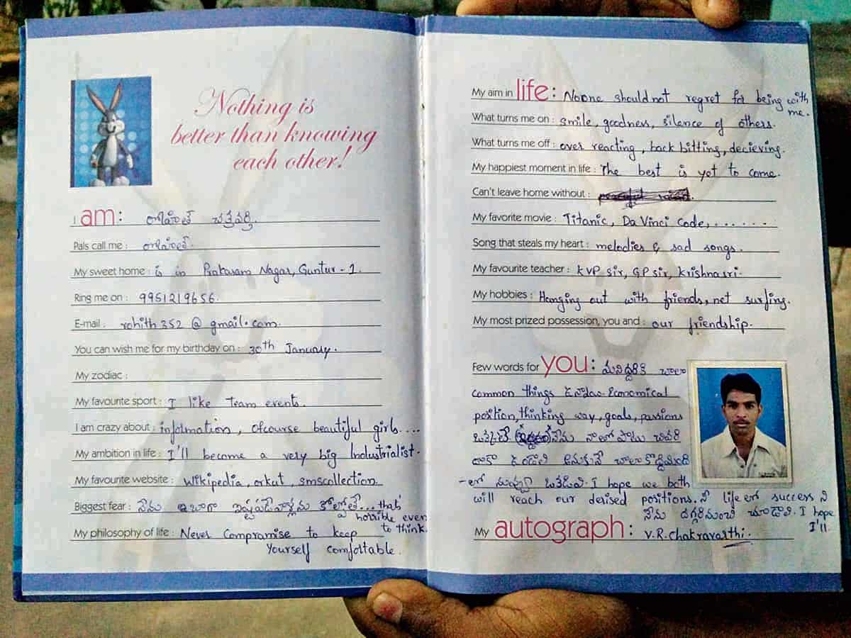 Rohith Vemula's entry in Sheikh Riyaz's slam book. Riyaz says that Rohith fought against the caste discrimination he faced while growing up. He broke many barriers before he got to the final stretch, his PhD. He gave up when he realised he could go no further. (Photo provided by Sheikh Riyaz)