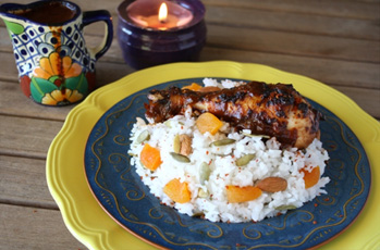 image of chicken mole harvest rice
