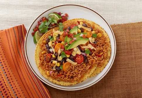 image of fiesta rice tostada