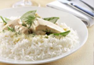 Rice with Creamy Salmon and Snow Peas