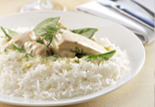 Rice with Creamy Salmon and Snow Peas