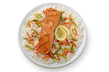 image of salmon and confetti rice pilaf