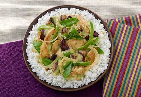 image of thai green curry chicken rice