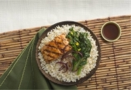 Hapa rice with shoyu salmon and brown rice