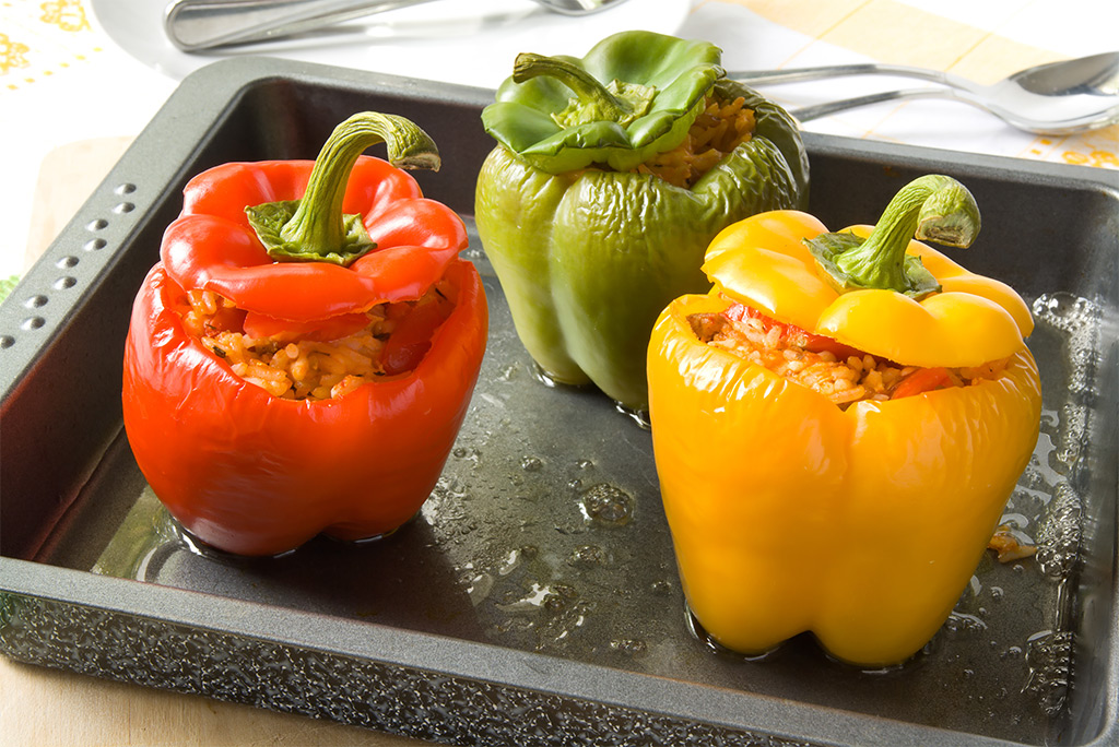 Hinode rice: Rice and Vegetable Stuffed Bell Pepper Recipe