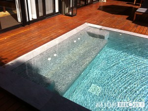 sky blue sanded natural stone mosaic for Jacuzzi, pool stair, bench