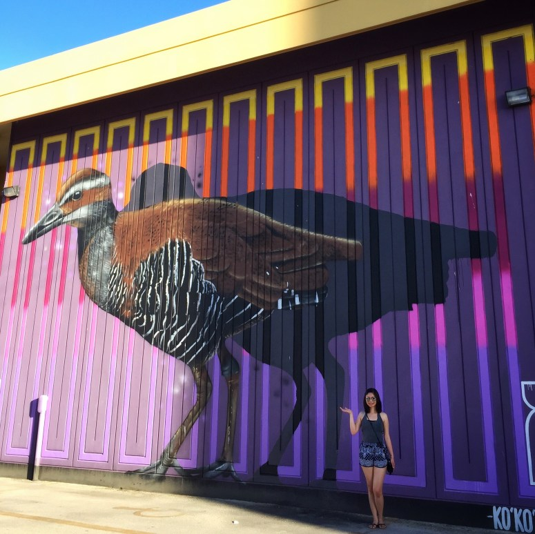 Ko'ko' Bird by Charles and Janine Williams. Part of Jamae's mural hunt on Guam. | Hint of Jam