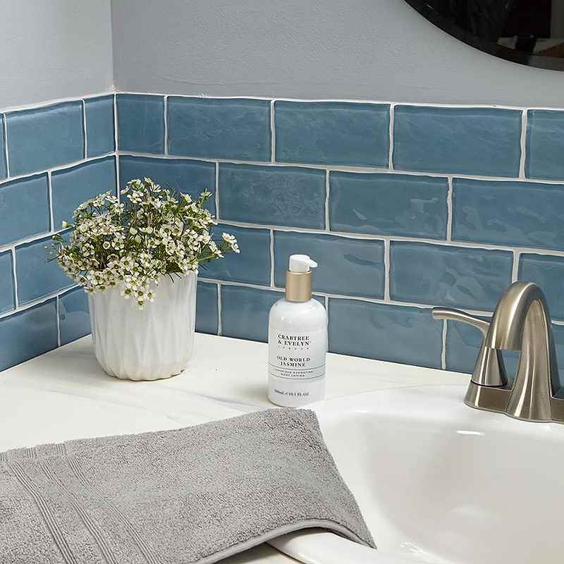 american olean handcrafted blue glass subway tile 3 x 6
