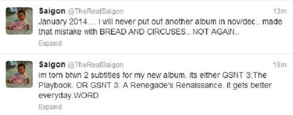 Saigon new album tweets