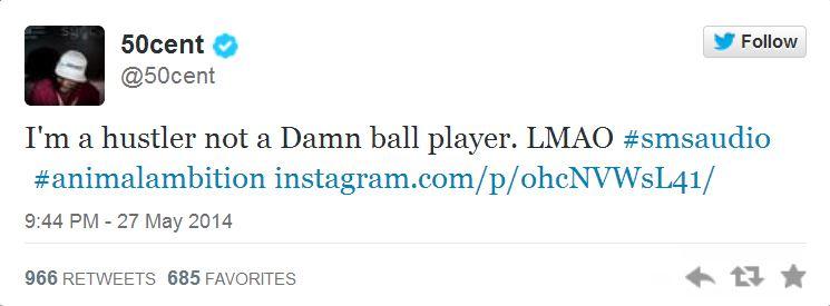 50 Cent baseball tweet 1