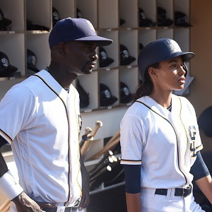 """PITCH: L-R: Mo McRae and Kylie Bunbury in the all-new """"Double Switch"""" episode of PITCH airing Thursday, Oct. 6 (8:59-10:00 PM ET/PT) on FOX. Cr: Ray Mickshaw / FOX. © 2016 FOX Broadcasting Co."""