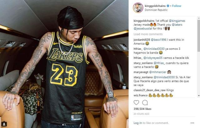 Tyga has the first LeBron James Lakers  jersey and shows it off on ... 4091fc4fc